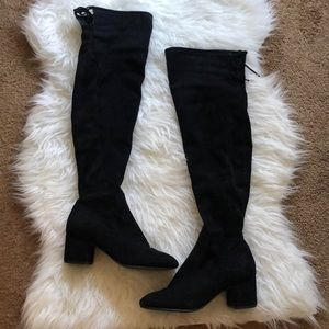 Black Faux Suede Over The Knee Boot Size 7.5